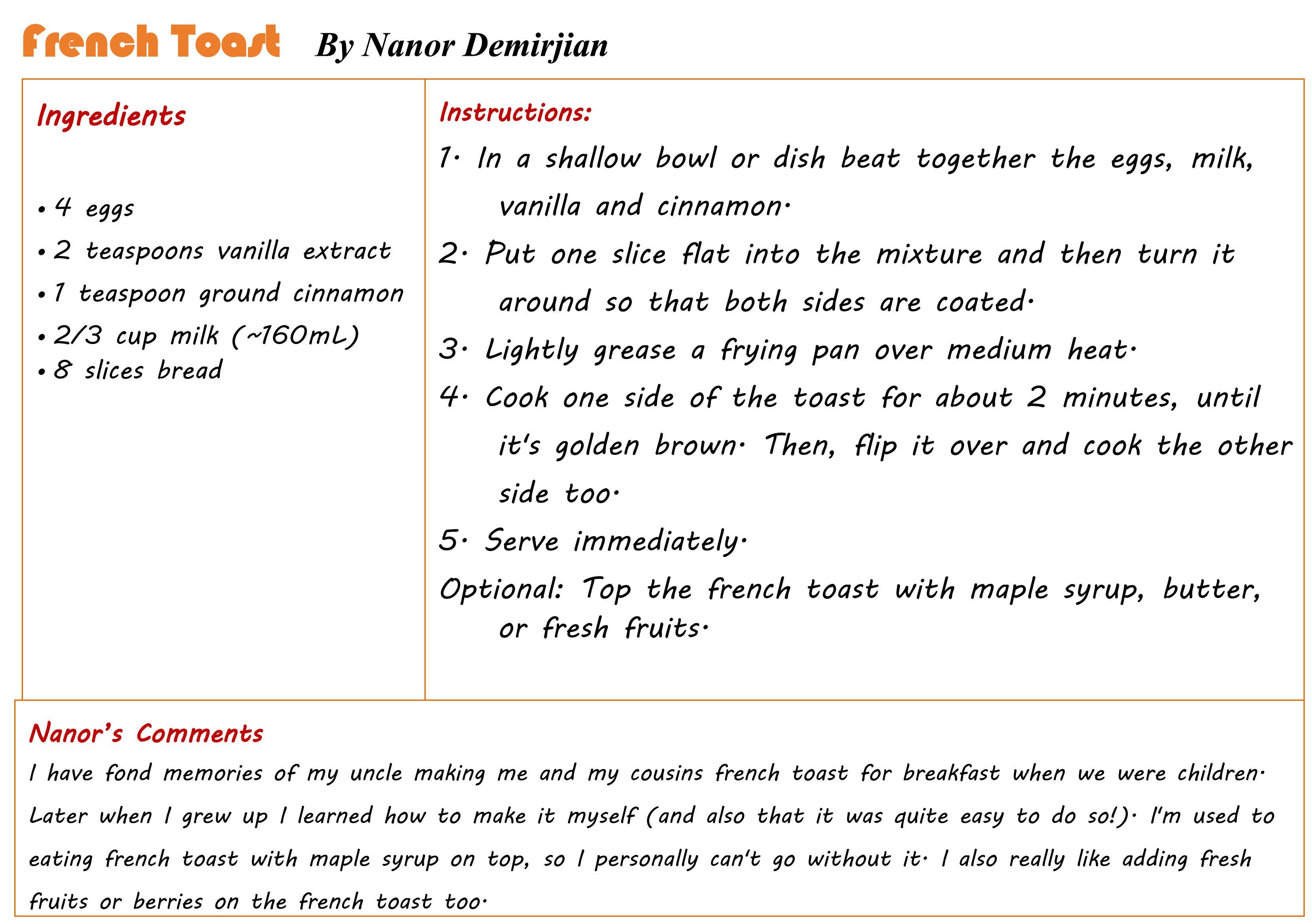 Receta del french toast del family book club instituto internacional receta de french toast por nanor demirjian para el family book club solutioingenieria Choice Image
